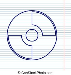 Vector CD or DVD sign. Vector. Navy line icon on notebook...