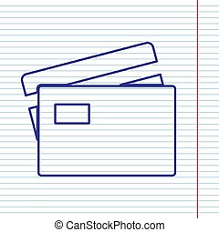 Credit Card sign. Vector. Navy line icon on notebook paper as background with red line for field.