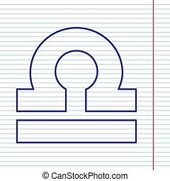 Libra sign illustration. Vector. Navy line icon on notebook paper as background with red line for field.