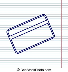 Credit card symbol for download. Vector. Navy line icon on notebook paper as background with red line for field.