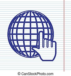 Earth Globe with cursor. Vector. Navy line icon on notebook paper as background with red line for field.