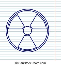 Radiation Round sign. Vector. Navy line icon on notebook...