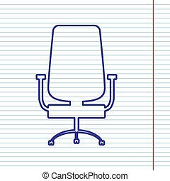 Office chair sign. Vector. Navy line icon on notebook paper as background with red line for field.