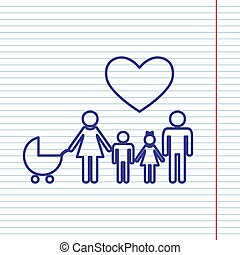 Family sign with heart. Husband and wife are kept children's hands. Vector. Navy line icon on notebook paper as background with red line for field.