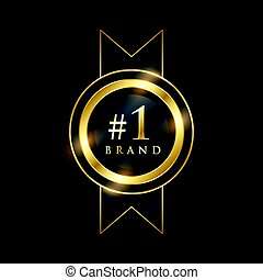 No. 1 brand premium golden label badge design