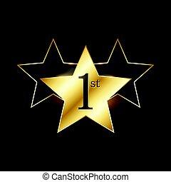 winner 1st star label design