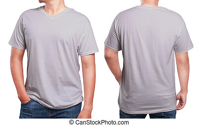 Grey V-Neck shirt design template - Grey t-shirt mock up,...