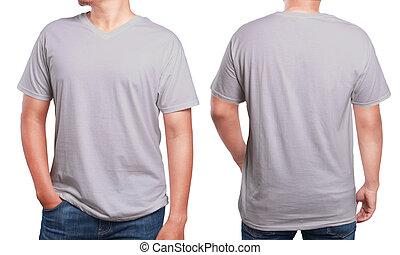 Grey V-Neck shirt design template - Grey t-shirt mock up,...
