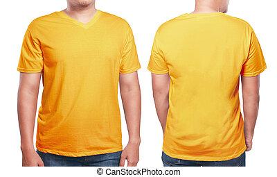 Orange V-Neck shirt design template - Orange t-shirt mock...
