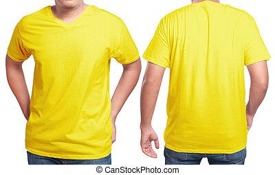 Yellow V-Neck shirt design template - Yellow t-shirt mock...
