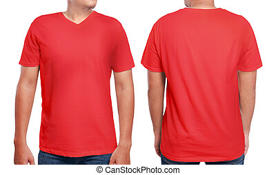 Red V-Neck shirt design template - Red t-shirt mock up,...