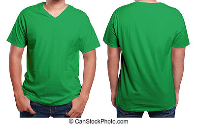 Green V-Neck shirt design template - Green t-shirt mock up,...