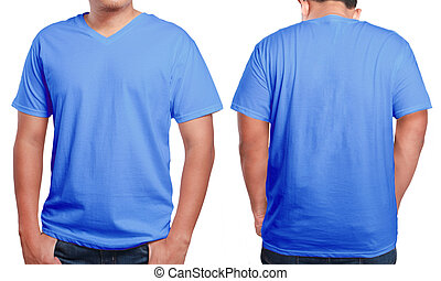 Blue V-Neck shirt design template - Blue t-shirt mock up,...