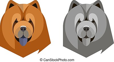 Portrait of a chow-chow in a geometric style on white...