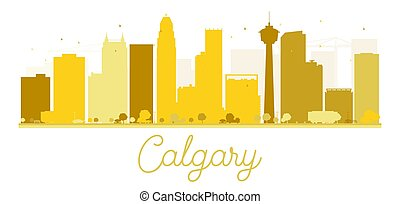 Calgary City skyline golden silhouette.