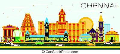 Chennai Skyline with Color Landmarks and Blue Sky. Vector...