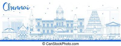 Outline Chennai Skyline with Blue Landmarks. Vector...