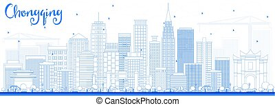 Outline Chongqing Skyline with Blue Buildings.