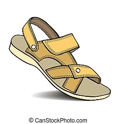 Hand drawn Sandal - Hand drawn colored Sandal isolated on...