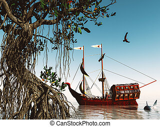 Pirate ship at magical evening on the ocean 3d rendering -...