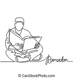 Man in fez reading Koran. Continuous line drawing vector...