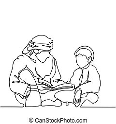 Man and boy reading Koran. Continuous line drawing vector...