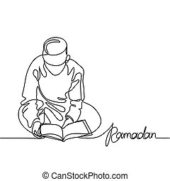 Boy in fez reading Koran. Continuous line drawing vector...
