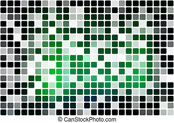 Glowing neon green occasional opacity mosaic over white -...