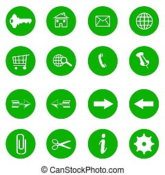 green website icons - internet buttons - white background