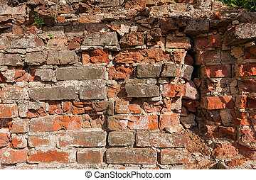 Background from old clay red brick - Background from very...