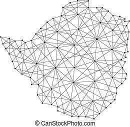 Map of Zimbabwe from polygonal black lines and dots of...