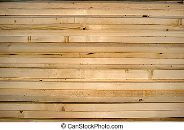 Pine slats stack as a building material in rural areas