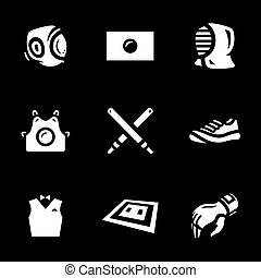 Vector Set of Kendo Icons. - Helmet, flag, mask, body...