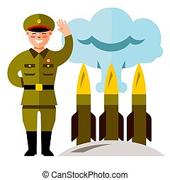 Vector North Korea Missile System. Flat style colorful Cartoon illustration.
