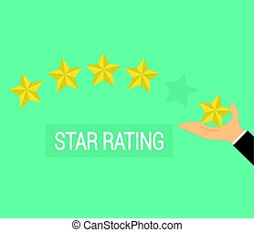 Businessman hand giving five star rating, flat Icon