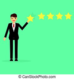 Happy businessman giving five star rating.