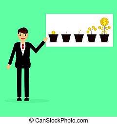 businessman with money growth concept