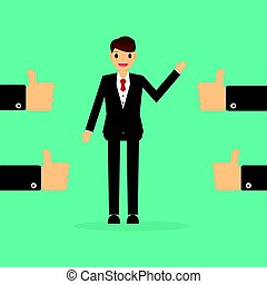 Businessman with many hands thumbs up. feedback concept.