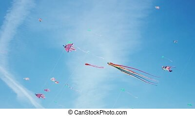 Kite with colorful stripes in form of octopus in flight. Blue sky and sunny day