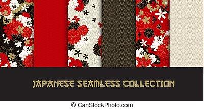 mönster, sätta, klassisk,  seamless, japansk