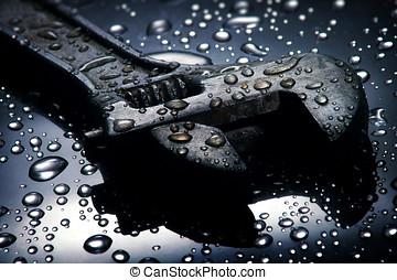 ajustable, llave inglesa, agua, gotas, Plano de fondo, llave...