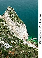 Mount Conero cliff, Marche, Italy - Mount Conero cliff in a...