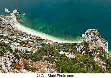 Beach of two sisters, spiaggia delle due sorelle, seen from...