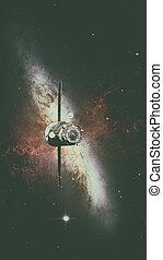 Spacecraft Progress orbiting the nebula. - Spacecraft...