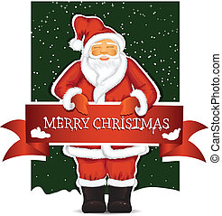 Santa Claus with christmas banner - Vector illustration