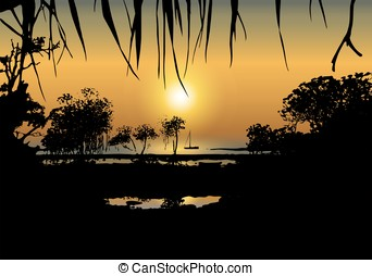 Tropical sunset on the sea shore - Vector illustration of...