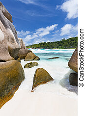 Anse Cocos, La Digue, Seychelles - Granite boulders and...