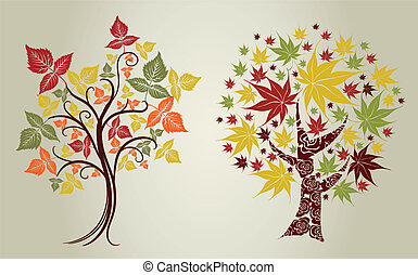 trees from leafs Thanksgiving - Two Vector designs grunge...