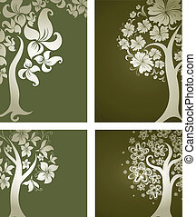 decorative tree from flowers Thank - Vector set of...
