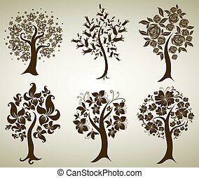 decorative tree from flowers - Vector set of designs with...